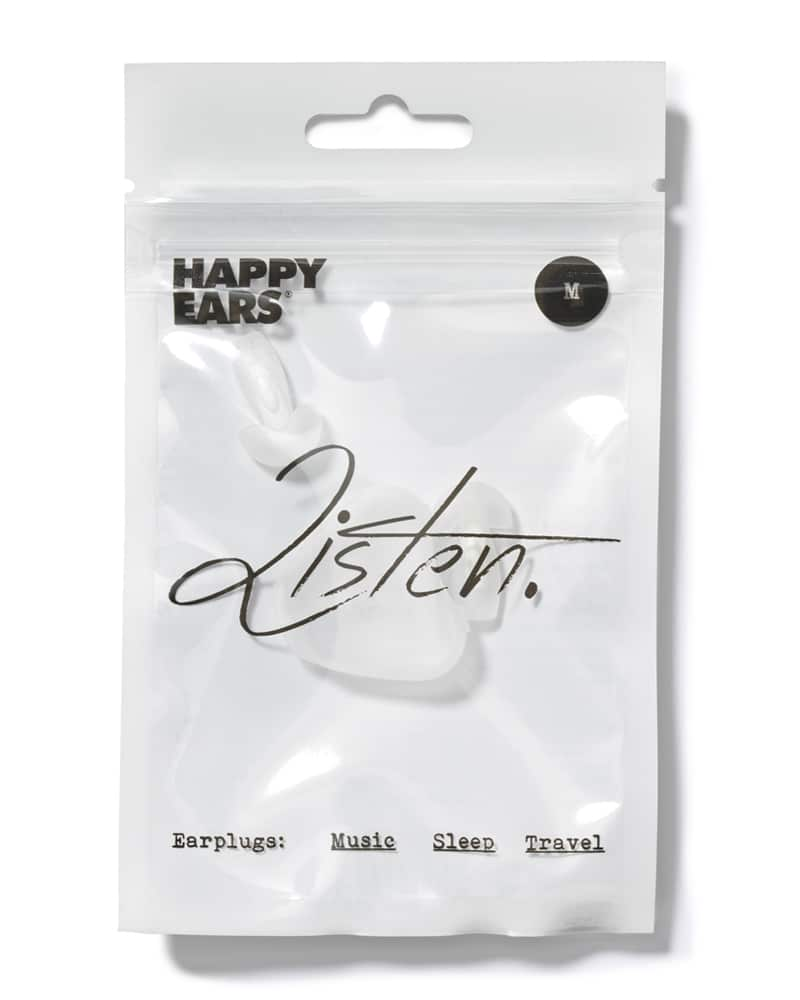 Happy Ears medium sized white and translucent reusable earplugs with storage case in white packaging